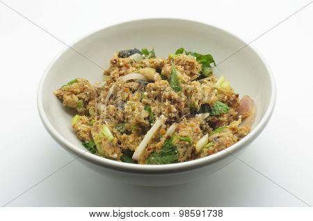 Spicy minced catfish, thai food
