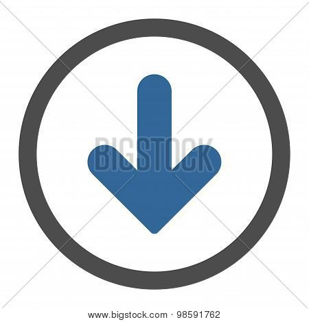 Arrow Down flat cobalt and gray colors rounded vector icon