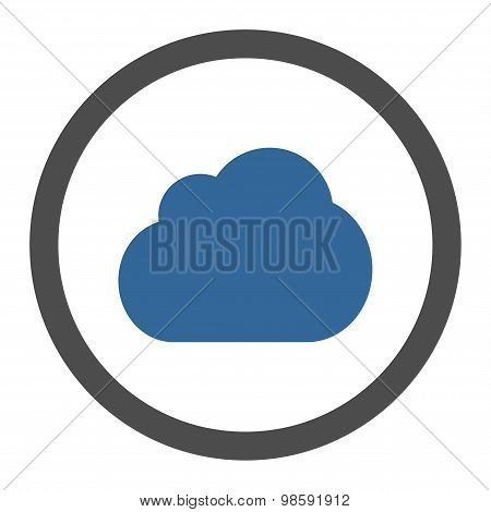 Cloud flat cobalt and gray colors rounded vector icon