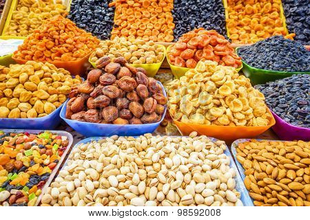 Dried fruit and nuts at a farmers market in Pyatigorsk, Russia