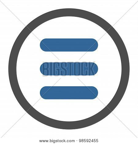Stack flat cobalt and gray colors rounded vector icon