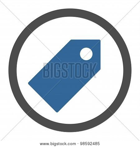 Tag flat cobalt and gray colors rounded vector icon