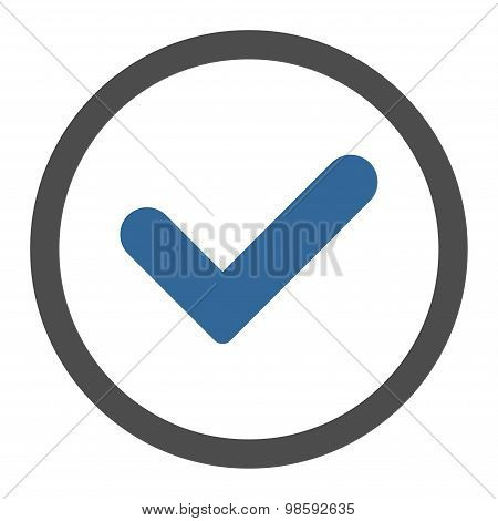 Yes flat cobalt and gray colors rounded vector icon