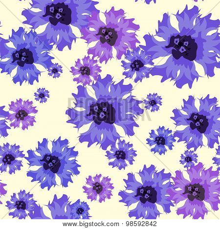 Vector Seamless Pattern With Blue Cornflowers On White.