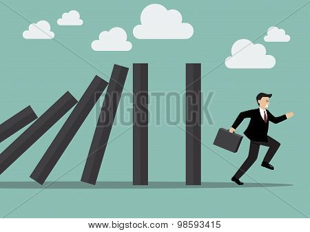 Businessman Run Away Domino Effect