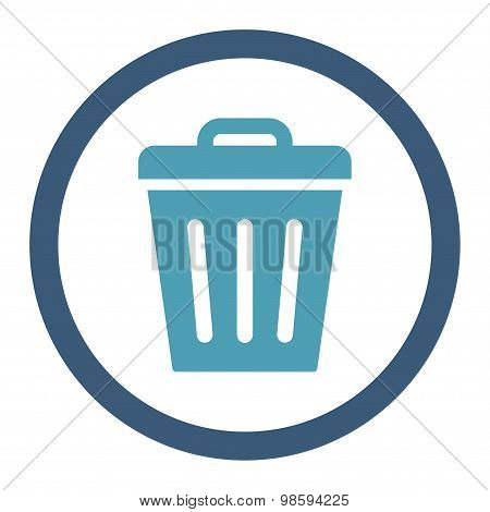 Trash Can flat cyan and blue colors rounded vector icon