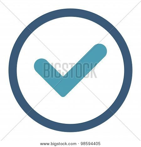 Yes flat cyan and blue colors rounded vector icon