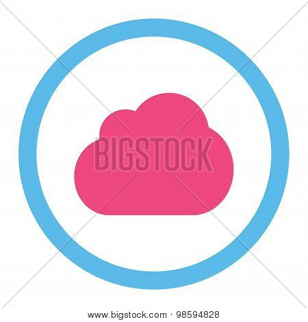 Cloud flat pink and blue colors rounded vector icon