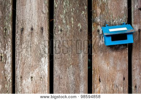 Old Steel Blue Mail Box Hang On Wood Wall