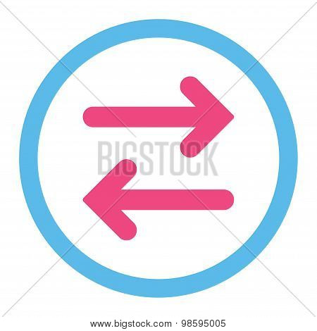Flip Horizontal flat pink and blue colors rounded vector icon