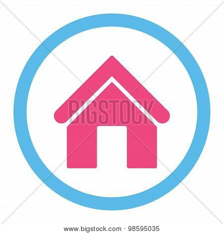 Home flat pink and blue colors rounded vector icon