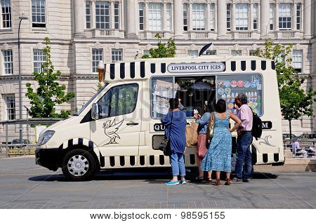 Peoply buying ice cream, Liverpool.