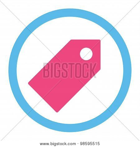 Tag flat pink and blue colors rounded vector icon