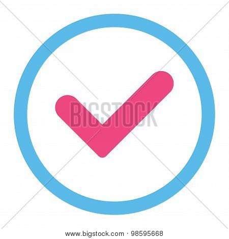 Yes flat pink and blue colors rounded vector icon
