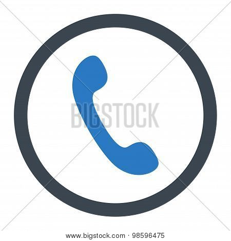 Phone flat smooth blue colors rounded vector icon