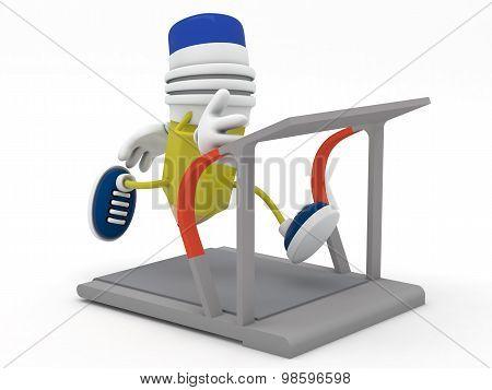 Yellow Pencil Running On Treadmill