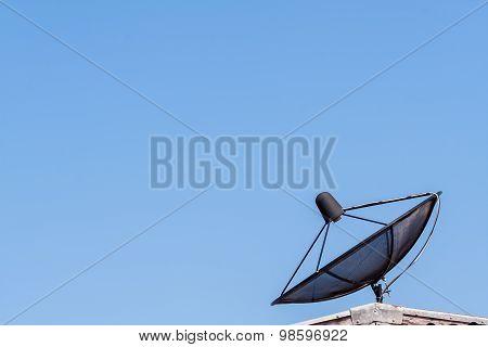 Satellite Dish On Blue Sky ,communication Technology Network
