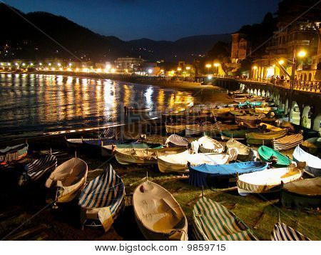 Seaside Town Of Levanto By Night