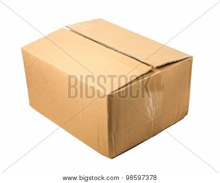 Half-closed Brown Cardboard Box For Packing ,isolated On A White Background