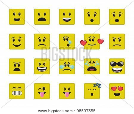 Set Of Square Yellow Icons