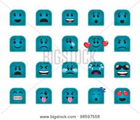 Set Of Turquoise Chamfered Square Icons