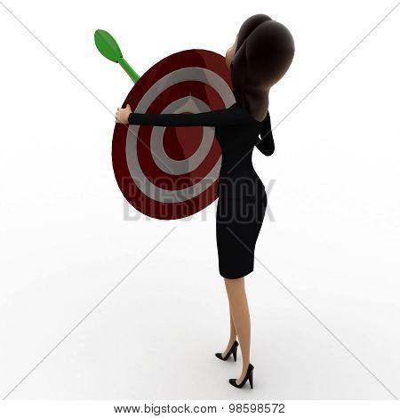 3D Woman Holding Dart Target In Hands Concept