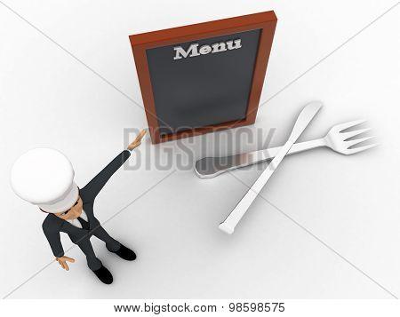 3D Chef Presenting Menu Concept