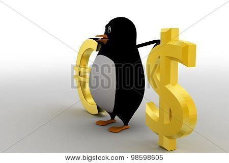 3D Penguin Comparing / Presenting Euro And Dollar Concept