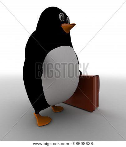 3D Penguin Holding Briefcase Concept
