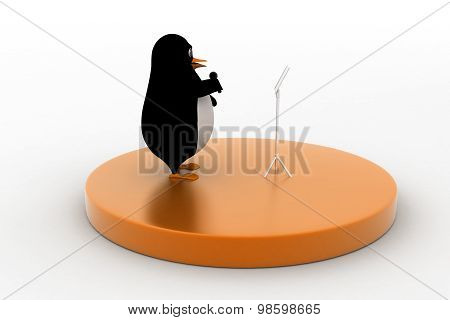 3D Penguin Reading / Singing In A Circular Stage Holding Mic Concept