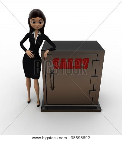 3D Woman With Sales Locker Concept