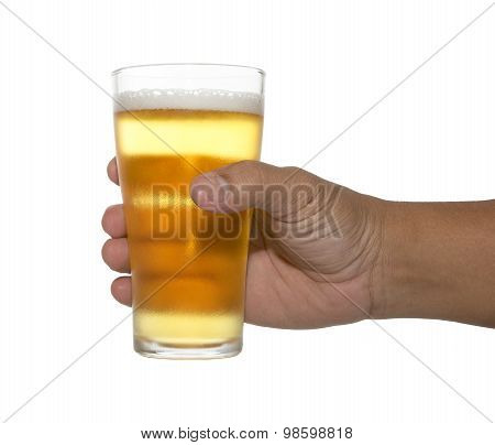 Hands Holding Up A Glass Of Beer