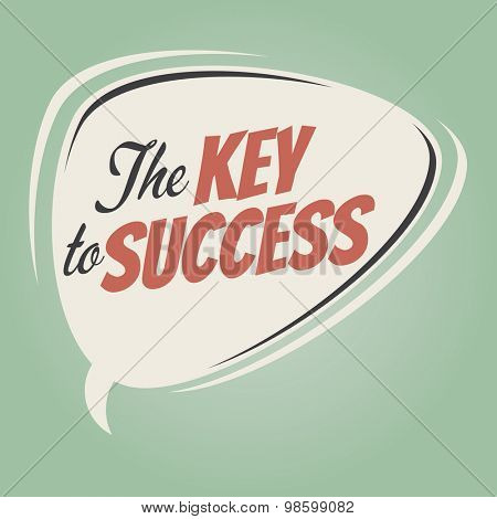 the key to success retro speech balloon