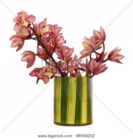 Flower bouquet on the vase, isolated white background.