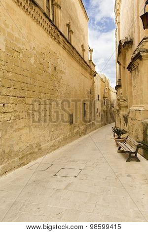 Narrow Street In Medieval Walled Town Mdina - Silent City . Malta Island.