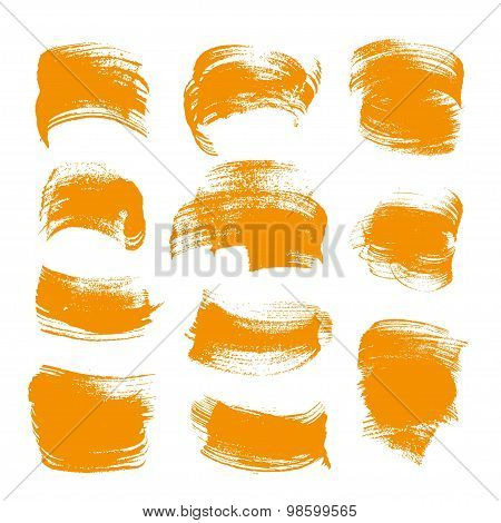 Abstract Orange Gouache Smears Set Isolated On A White Background