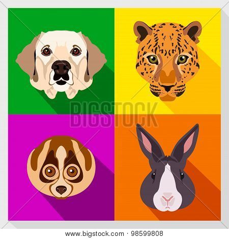 Set of animals with Flat Design. Symmetrical portraits of animals. Vector Illustration.