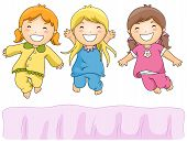 foto of slumber party  - Illustration of Cute Little Girls Having a Pajama Party - JPG