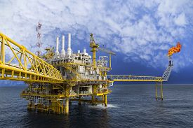 picture of production  - Oil and gas platform or Construction platform in the gulf or the sea - JPG