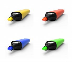 foto of sharpie  - Collection of highlights isolated on a white background - JPG