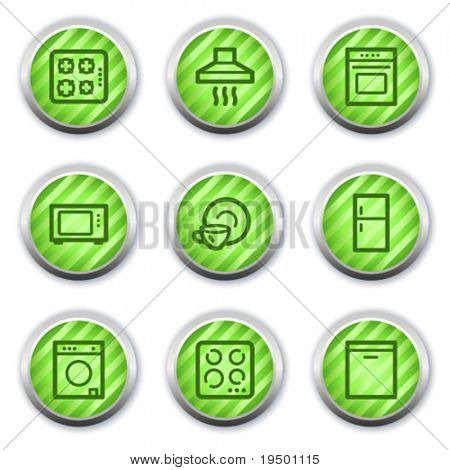 Home appliances web icons, green glossy circle buttons