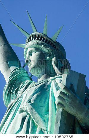 Lady Liberty Against a Blue Sky