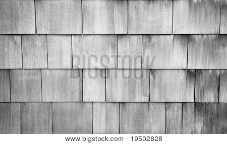 Weathered Shingle Background in Black and White.