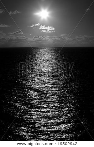 Black and White image of Sun on Water