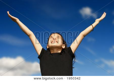 Young Girl Showing Jubilation Both Arms Opened Wide