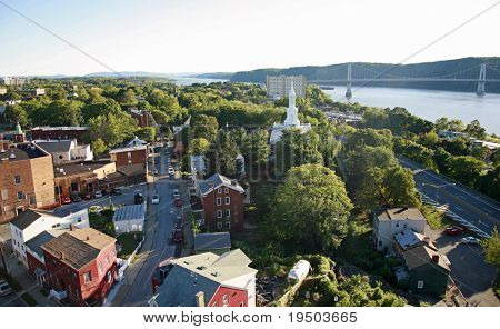 Aerial view of small town on the Hudson River, NY.