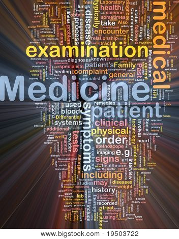 Background concept wordcloud illustration of medicine glowing light