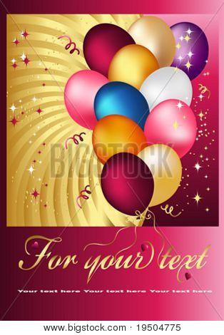 Postal Copula of wonderful balloons. Vector Design.