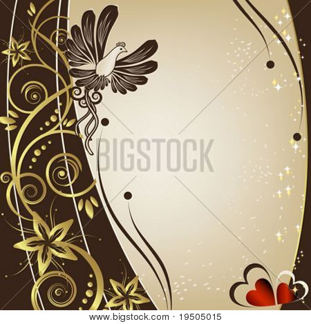 Bird and kerb decorated with beige patterns of flowers leaves spirals isolated on a white background VECTOR (See Jpeg Also In My Portfolio)