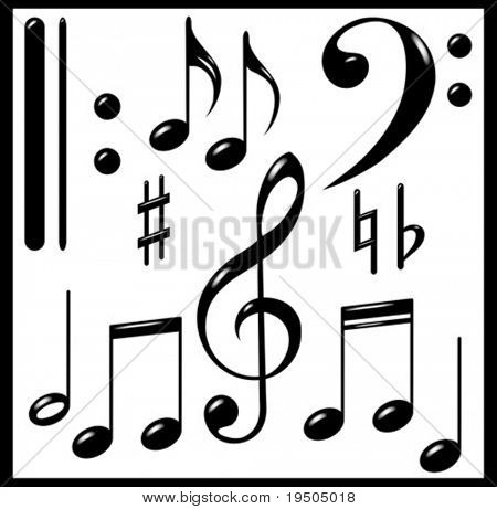 Set  of musical signs. Black.